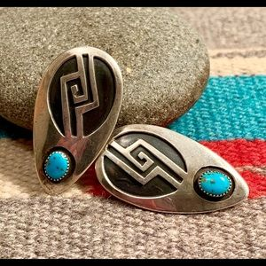 Sterling Overlay & Turquoise Shield Earrings